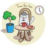 Чай элегантного англичанина кота выпивая Стоковая Фотография