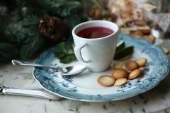 Чай ягоды с известкой и печеньями Стоковые Фото