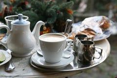Чай ягоды с известкой и печеньями Стоковое Изображение RF
