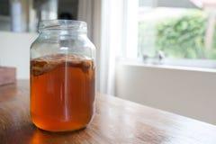 Чай Kombucha в стеклянном опарнике Стоковые Изображения RF