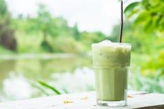 Чай Macha льда зеленый Стоковая Фотография RF