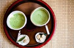 Чай Matcha зеленый - японский зеленый чай Стоковые Фото
