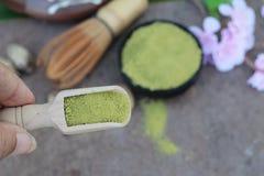 Чай Matcha зеленый и порошок, японский чай Стоковое Фото