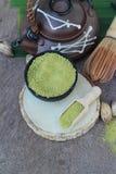 Чай Matcha зеленый и порошок, японский чай Стоковое Изображение