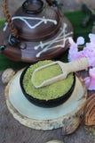 Чай Matcha зеленый и порошок, японский чай Стоковая Фотография