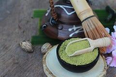 Чай Matcha зеленый и порошок, японский чай Стоковые Фото