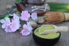Чай Matcha зеленый и порошок, японский чай Стоковые Изображения