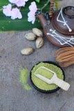 Чай Matcha зеленый и порошок, японский чай Стоковое фото RF