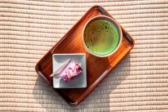 Чай Matcha зеленый - японский зеленый чай Стоковые Изображения RF