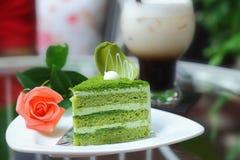 чай matcha торта зеленый Стоковое Изображение
