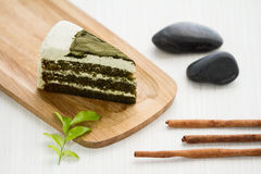 чай matcha торта зеленый Стоковая Фотография