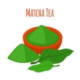 Чай Matcha - japaneese питье Порошок, листья азиатского чая иллюстрация штока