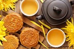 чай mooncake Стоковые Изображения RF