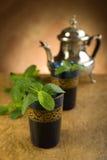 чай moroccan мяты листьев Стоковые Изображения