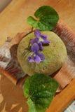 чай sakura риса mochi зеленого цвета донута десерта Стоковое Фото