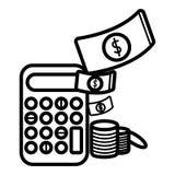 Чалькулятор и деньги Икона дела и финансов иллюстрация вектора
