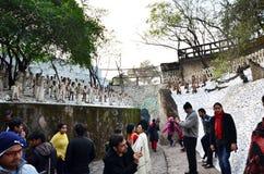 Чандигарх, Индия - 4-ое января 2015: Статуи утеса посещения людей на саде утеса в Чандигархе Стоковое Изображение