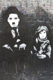Чарли Чаплин граффити ребенк Стоковое Фото