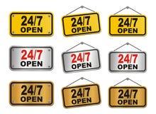 24 часа знак 7 дней открытый Стоковые Фото