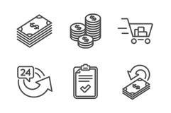 24 часа, значки корзины и монеток набор Знаки доллара, контрольного списока и Cashback Повторение, онлайн приобретение r иллюстрация штока
