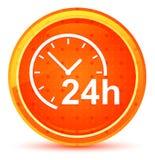 24 часа хронометрируют кнопку значка естественную оранжевую круглую бесплатная иллюстрация