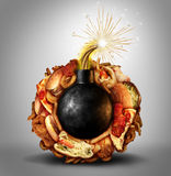 Часовая бомба высококалорийной вредной пищи бесплатная иллюстрация