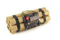 Часовая бомба изолированная на белизне Стоковое фото RF