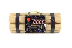 Часовая бомба изолированная на белизне Стоковое Изображение RF