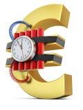 Часовая бомба на символе евро иллюстрация штока