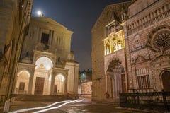 Часовня Бергама - Colleoni и собор Santa Maria Maggiore и Dom Стоковая Фотография
