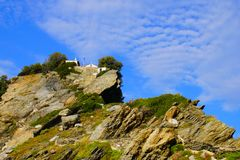 Часовня Ioannis ажио Ekklisia, Skopelos, Греция стоковые фото