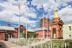Часовня Transfiguration нашего лорда на главным образом станции Vodokanal Waterworks, Санкт-Петербург Стоковые Изображения