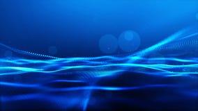 Частицы абстрактного голубого цвета цифровые развевают с предпосылкой bokeh иллюстрация вектора