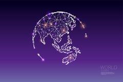 Частицы, геометрическое искусство, линия и точка глобального мира Стоковое Фото