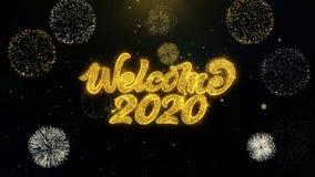 Частицы золота добро пожаловать 2020 написанные взрывая дисплей фейерверков иллюстрация вектора