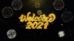 Частицы золота добро пожаловать 2021 написанные взрывая дисплей фейерверков