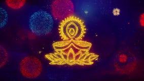 Частицы искры текста лампы diya Deepak приветствуя на покрашенных фейерверках
