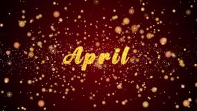 Частицы текста поздравительной открытки в апреле сияющие для торжества, фестиваля сток-видео