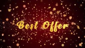 Частицы текста поздравительной открытки наилучшего предложения сияющие для торжества, фестиваля сток-видео
