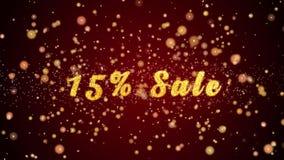 Частицы текста поздравительной открытки продажи 15% сияющие для торжества, фестиваля сток-видео