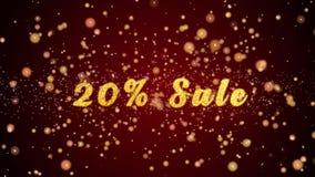 Частицы текста поздравительной открытки продажи 20% сияющие для торжества, фестиваля видеоматериал