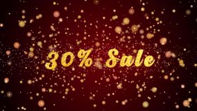 Частицы текста поздравительной открытки продажи 30% сияющие для торжества, фестиваля сток-видео