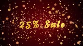 Частицы текста поздравительной открытки продажи 25% сияющие для торжества, фестиваля акции видеоматериалы