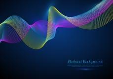 частицы 3d цепляют волну массива, ядровый пропускать Запачканный вокруг иллюстрации влияния вектора светов футуристический стиль  иллюстрация вектора