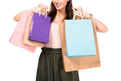 частично взгляд женщины держа хозяйственные сумки в руках Стоковая Фотография