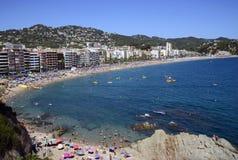 Частично lloret de mar взгляда, деревня и пляжи стоковое изображение
