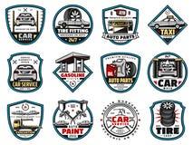 Части автомобиля запасные и автотракторное масло, автошина, значки батареи бесплатная иллюстрация