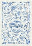 Части автомобиля в стиле чертежа от руки Стоковое Изображение