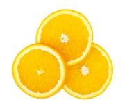 3 части апельсина изолированного на белизне Стоковые Изображения RF