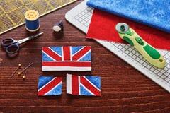 Части будущего просмотра pincushion как Юнион Джек сигнализируют, sewingParts будущего просмотра pincushion как флаг Юниона Джек, Стоковые Фото